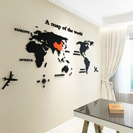 3D World Map Waterproof Acrylic Sofa/Living Room Home Wall Decor Sticker