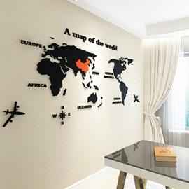 World Map 3D Acrylic Sofa/Living Room Wall Decor Waterproof Wall Sticker