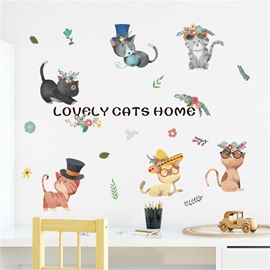 Cartoon Cute Cats Pattern Environment Friendly PVC Waterproof Living Room Kids Room Wall Sticker