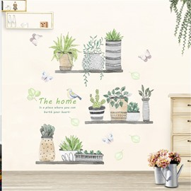 Plants And Bird Pattern PVC Waterproof Home Decor Living Room Kitchen Wall Sticker