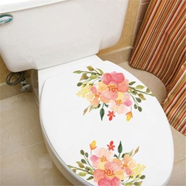 Fridge Magnet Toilet Patch Pink Flower Pattern PVC Window/Wall Stickers