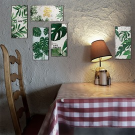 6-Pieces Leaf Pattern Creative Retro Style Rectangle Waterproof PVC Home Decor Wall Stickers