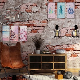 Creative Pink Pattern 6-Pieces Creative Retro Style Rectangle Waterproof PVC Home Decor Wall Stickers