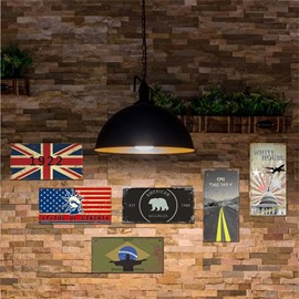 American Banner Pattern 6-Pieces Creative Retro Style Rectangle Waterproof PVC Home Decor Wall Stickers