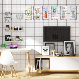 6-Pieces Creative Retro Style Cactus Pattern Rectangle Waterproof PVC Home Decor Wall Stickers