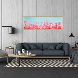 Pink Cactus Pattern 11.8*35.4in Waterproof PVC Home Decor Wall Stickers