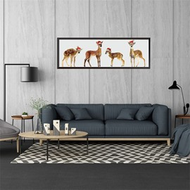 11.8*35.4in Four Christmas Elk Pattern Waterproof PVC Home Decor Wall Stickers