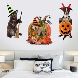 Cute Cat Dog 3D Wall Stickers For Halloween Decor Waterproof PVC Decal Wall Stickers
