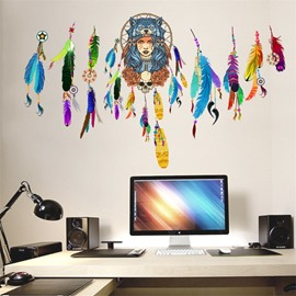 Indian Girl Pattern Environment Friendly PVC Waterproof Living Room Wall Sticker