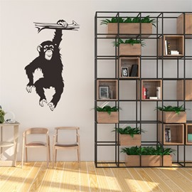 Waterproof PVC Black Cute Orangutan Pattern Home Decor Wall Sticker