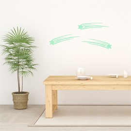 Removable Cute Cartoon Meteor Pattern Green Fluorescent Night Luminous Wall Sticker
