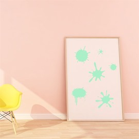 Removable Cute Cartoon Ink Stain Pattern Green Fluorescent Night Luminous Wall Sticker