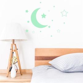 Removable Cute Cartoon Moon Stars Pattern Green Fluorescent Night Luminous Wall Sticker