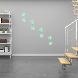 Removable Cute Cartoon Footprint Pattern Green Fluorescent Night Luminous Wall Sticker