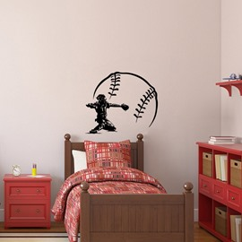 Personalized Baseball Name Sign Wall Stickers