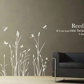 Removable Country Style Dragonfly and Reed Pattern Wall Stickers