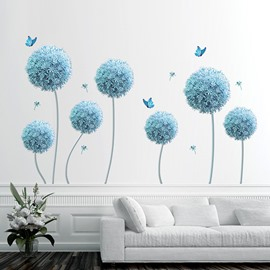 Self-adhesive Blue Flower Pattern Corridor Bedding Room Home Decor Wall Sticker