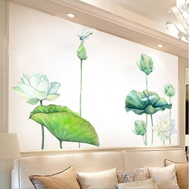 Self-Adhesive Waterproof Green Flower Pattern Wall Stickers for Living Room Bedroom TV Wall Corridor