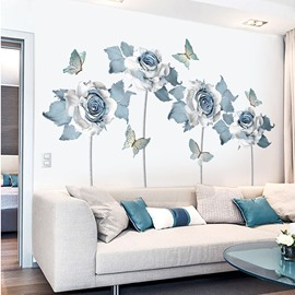 Removable Blue Flower Pattern Wall Sticker for Living Room Bedroom
