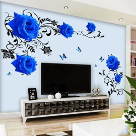 Removable Blue Flower Pattern TV Wall Corridor Home Decor Waterproof Wall Sticker