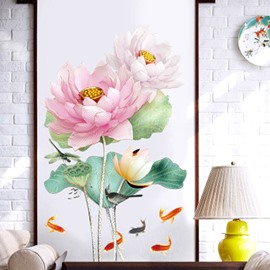 Flowers Floral Wall Stickers Decals Murals Art Decor for Living Room Nursery Room Bedroom Office Bathroom Removable Wall Decoration Romantic Beautiful Lovely