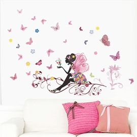 A Butterfly Fairy Sitting on The Treetops Butterfly-themed DIY Wall Sticker