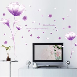 Lavender Flowers And Butterflies Easy To Tear And Stick DIY Wall Sticker