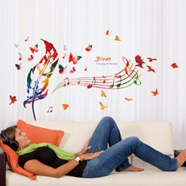 Colorful Feathers And Staff Easy To Tear And Stick DIY Wall Sticker