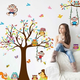 Interesting Big Tree And Animals Easy To Tear And Stick DIY Wall Sticker Children's Room Decoration