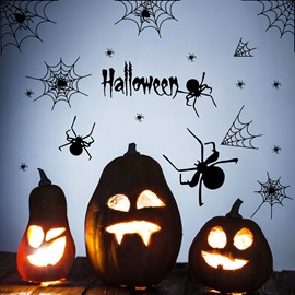 Creative Spider Web Halloween Theme Environmental-friendly 3D PVC Wall Stickers / Wall Decorations