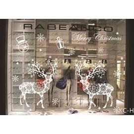 Cartoon PVC White Christmas Deer Window Stickers Self-adhesive Wall Stickers