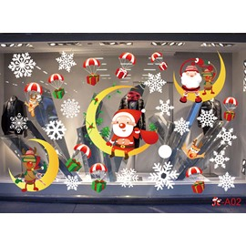 Cartoon Santa Claus PVC Christmas Window Stickers Self-adhesive No-trace Wall Stickers