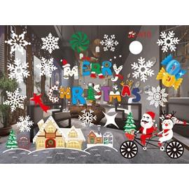 European Cartoon Santa Claus PVC Christmas Window Stickers Self-adhesive No-trace Wall Stickers
