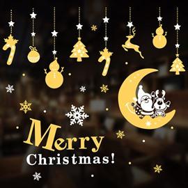 Golden Christmas Stickers Cartoon PVC Window/Wall Decor
