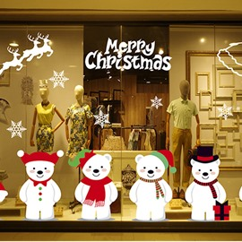 Christmas Bears Cartoon PVC Christmas Stickers Self-adhesive Wall Decorations