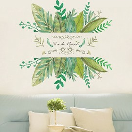 Green Leaves Pastoral Style PVC Wall Sticker Bedroom Living Room Background Home Decor