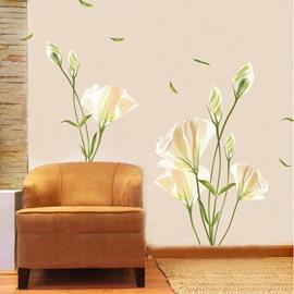 Lily Flowers PVC Wall Sticker Bedroom Living Room Background Home Decor