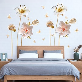 Orchid Flower Relief Technology PVC Wall Sticker Bedroom Living Room Background Home Decor