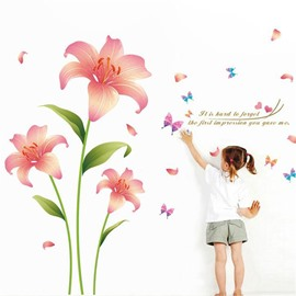 Pink Romantic Lily Removable Self-adhesive Wall Stickers/PVC Wall Decorations
