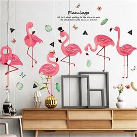 Pink Flamingo Self-adhesive Waterproof Wall Stickers for Kids PVC Cartoon Wall Decoration