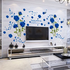 Blue Roses DIY Wall Stickers PVC Waterproof Removable Traceless Self-adhesive Wall Decorations