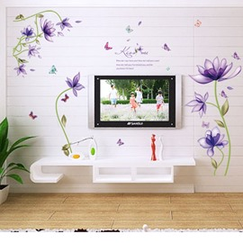 Purple Floral DIY Wall Stickers PVC Waterproof Removable Traceless Self-adhesive Wall Decorations