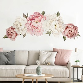 Romantic Peony Flowers Floral Vintage Wall Stickers Self-adhesive Wall Decorations