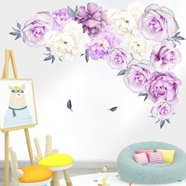 Romantic Purple Roses Floral Vintage Wall Stickers Self-adhesive Wall Decorations