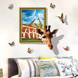 Butterflies 3D Girafffe Creative Animal Wall Stickers Wall Decorations for Bedroom Photo Frame