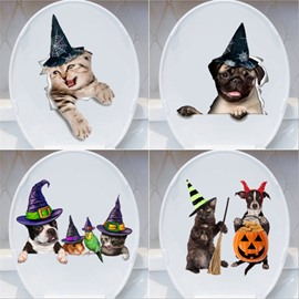 Halloween Dec Cartoon Creative Wall Stickers  Wall Decorations Animal Dog and Cat self-adhesive