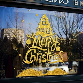New Year Merry Christmas Wall Stickers Modern Letters Art Self-Adhesive Home Shop Window Decals Detachable