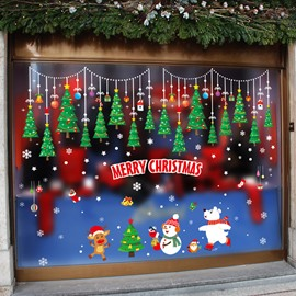 Christmas Window Clings PVC Stickers Window Wall Stickers Christmas Deer Christmas SnowmanTrees Party Stickers Decal Ornaments