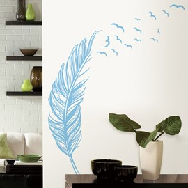 Plain Modern Wall Stickers Wall Decorations Black Brown Blue Feather