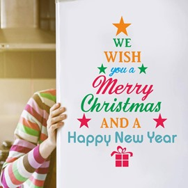Christmas Environmental and Waterproof Door Decals for Christmas Party Decorations PVC 3D Door Mural Plane Wall Sticker